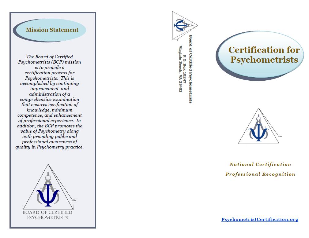 Board of Certified Psychometrists - Publications & Presentations